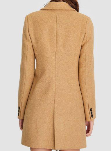 Двубортное драповое пальто