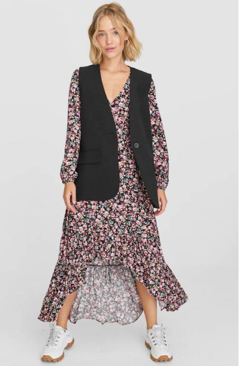 Платье миди с асимметричным воланом